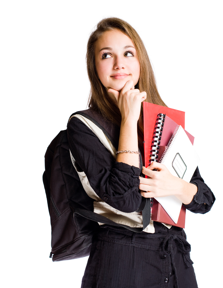 female-student-thinking-about-something-while-holding-books-and-backpack