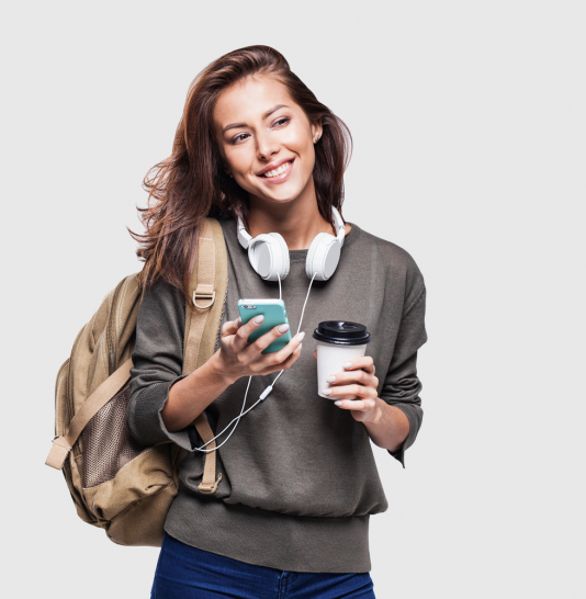 smiling-female-student-holding-coffee-iPhone